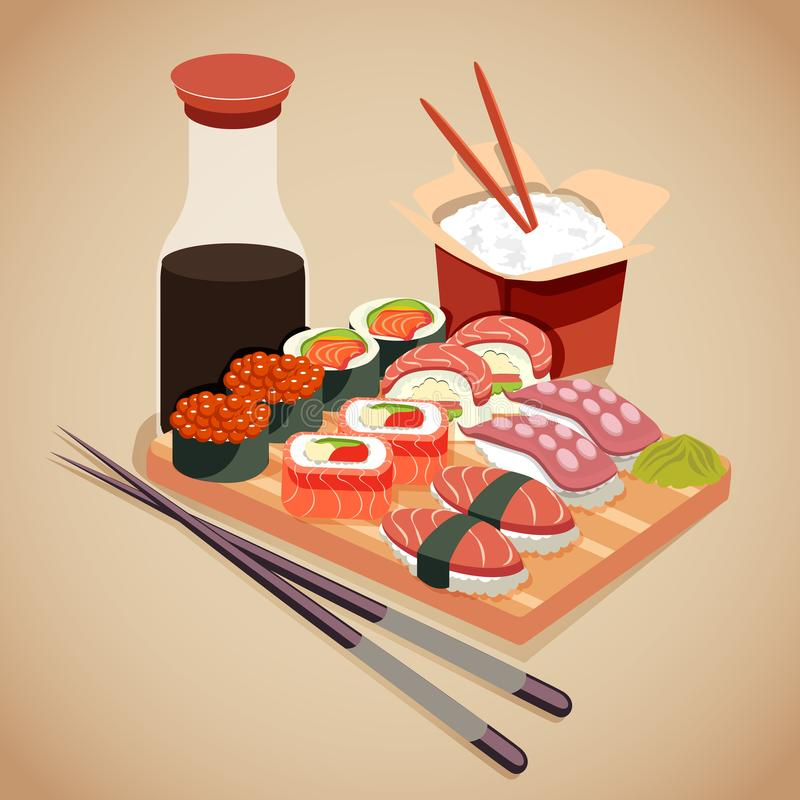 Seafood concept in cartoon style with sushi roll, cola, wasabi and rice stock illustration