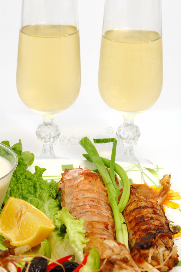 Seafood dinner royalty free stock image