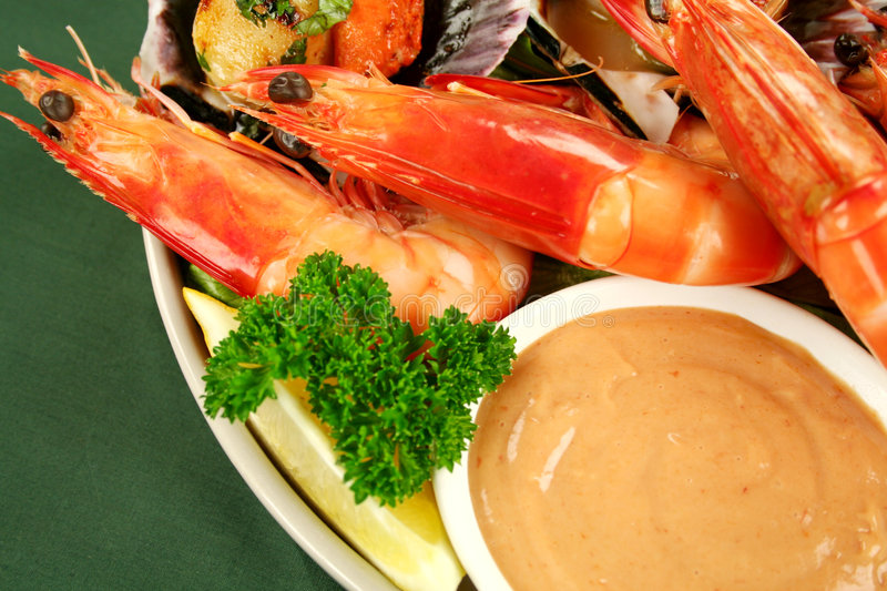 Seafood And Dip royalty free stock photography