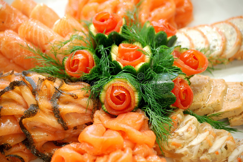 Seafood dish. Beautiful arrangement of seafood dish royalty free stock photography