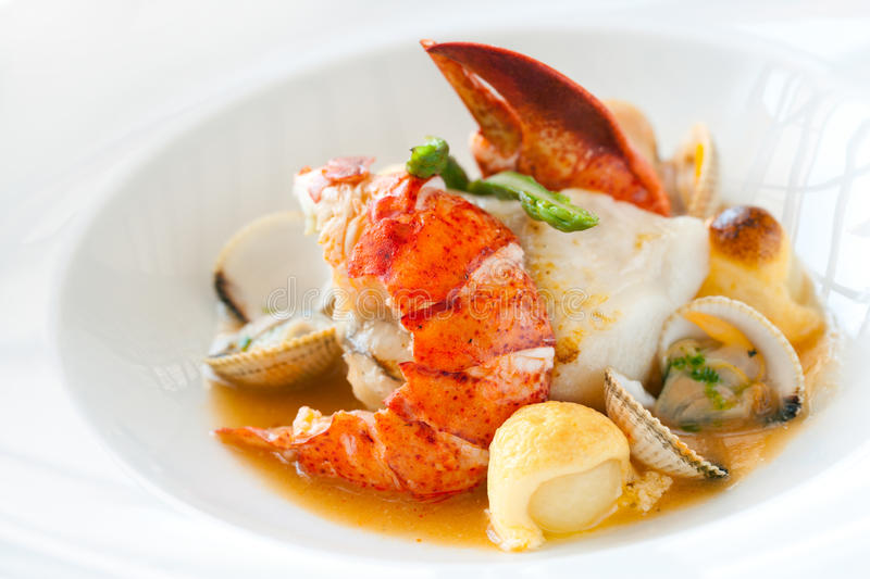 Seafood dish with lobster. Macro close up of seafood dish lobster and shellfish stock images