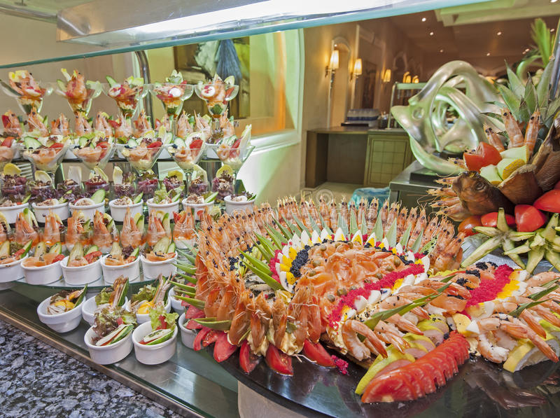 Seafood display at a hotel buffet. Large seafood display at a restaurant buffet in luxury hotel stock photo