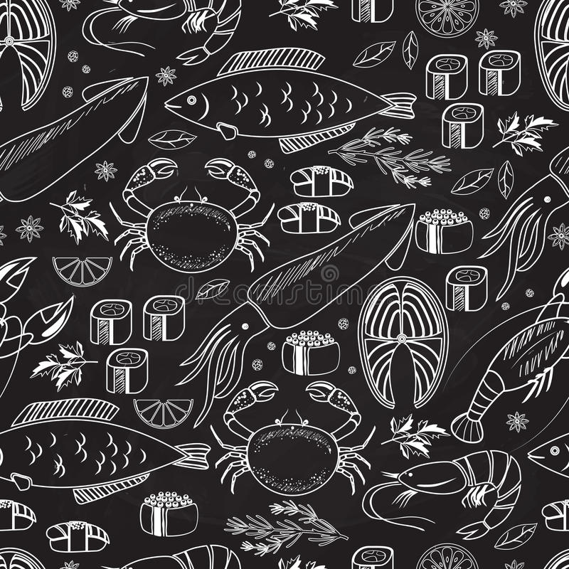 Seafood and fish chalkboard seamless background. Pattern on black with white line drawings of fish calamari lobster crab sushi shrimp prawn mussel salmon steak stock illustration