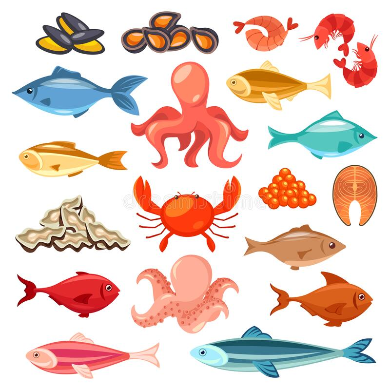 Seafood, fish delicatessen, fish market flat icons. Seafood and fish, sea market and shop vector flat icons set. Fish and seafood gourmet delicatessen, oysters stock illustration