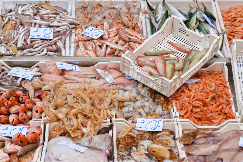 Seafood in a fish market royalty free stock image