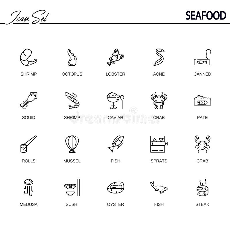 Seafood flat icon set. vector illustration