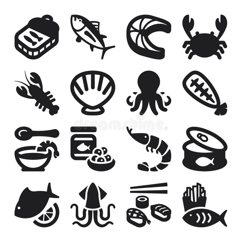 Download Seafood flat icons. Black stock vector. Image of fish - 37228770