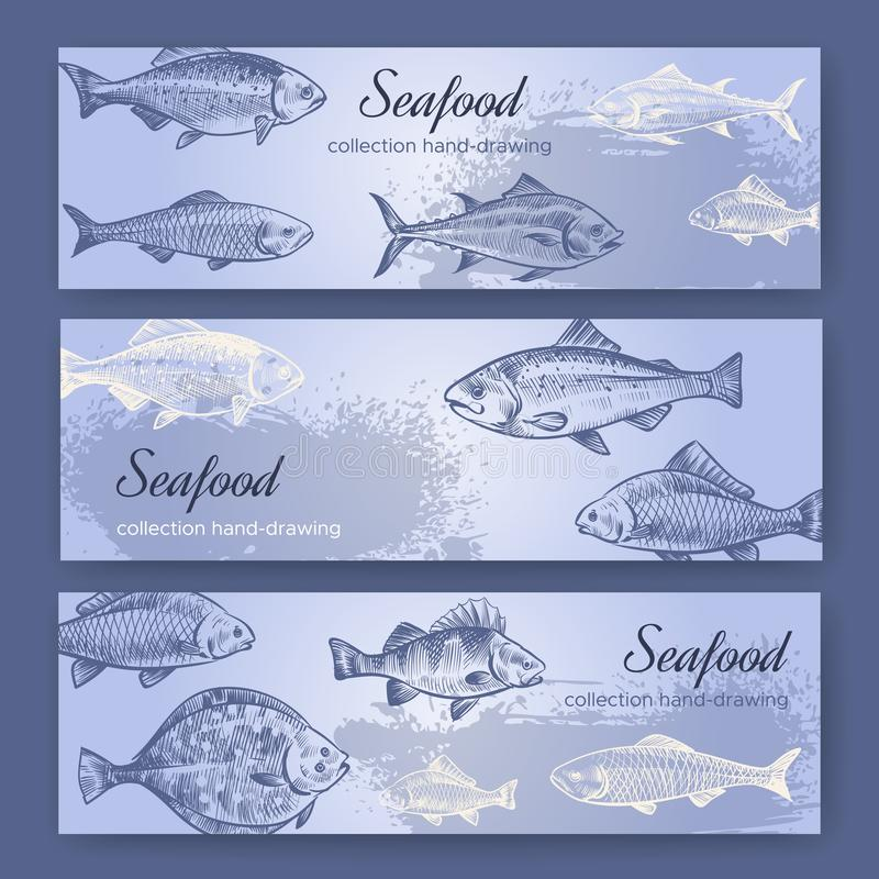 Seafood flyers. Vintage mediterranean fish food poster, sea restaurant flyer and banners drawing vector set. Seafood flyers. Vintage mediterranean fish food vector illustration
