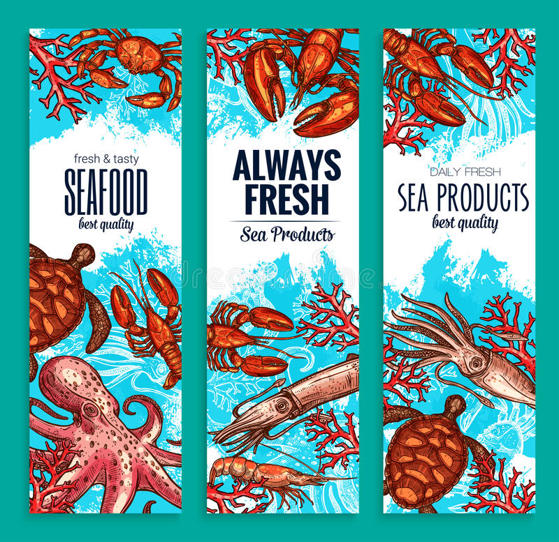 Seafood restaurant sea food banners vector set. Seafood or fresh sea food products banners for fish restaurant. Vector set of fishing catch octopus or lobster stock illustration