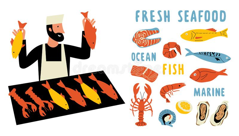 Seafood funny doodle set. Cute cartoon man, food market seller with fresh fish. Hand drawn vector illustration royalty free illustration