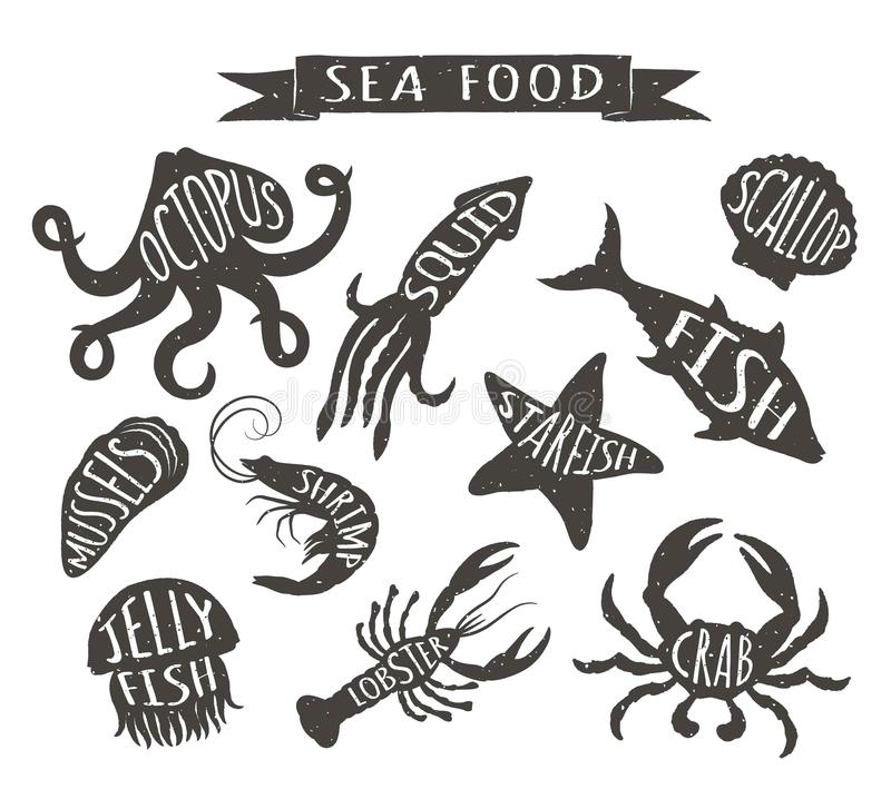 Seafood hand drawn vector illustrations isolated on white background, elements for restaurant menu design, decor, label. stock illustration