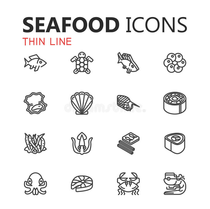 Seafood icon Vector Illustration Collection linear style royalty free stock photography