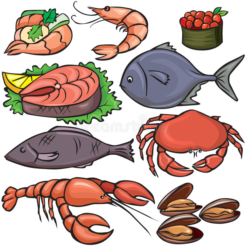 Seafood icons set. On white background vector illustration