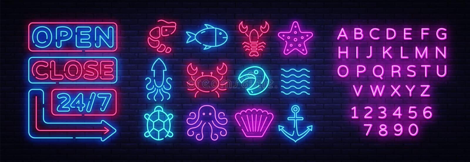 Seafood icons set. Seafood collection neon signs. Open Close Bright signboards, light banner. Neon isolated icon, emblem vector illustration