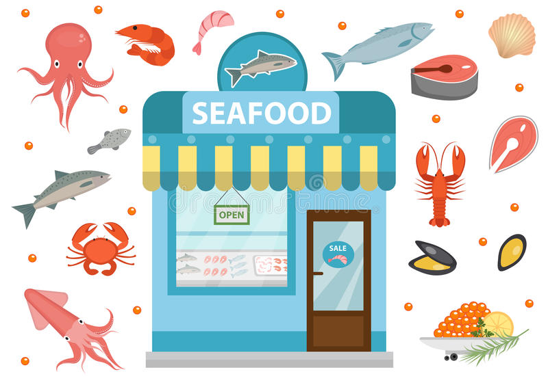Seafood icons set with shop building, fish, octopus, squid, shrimp, crab. Isolated on white background. Vecto vector illustration