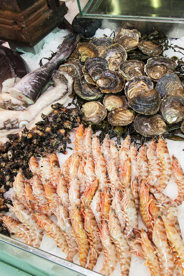 Seafood. Image of seafood at San Miguel Market royalty free stock image