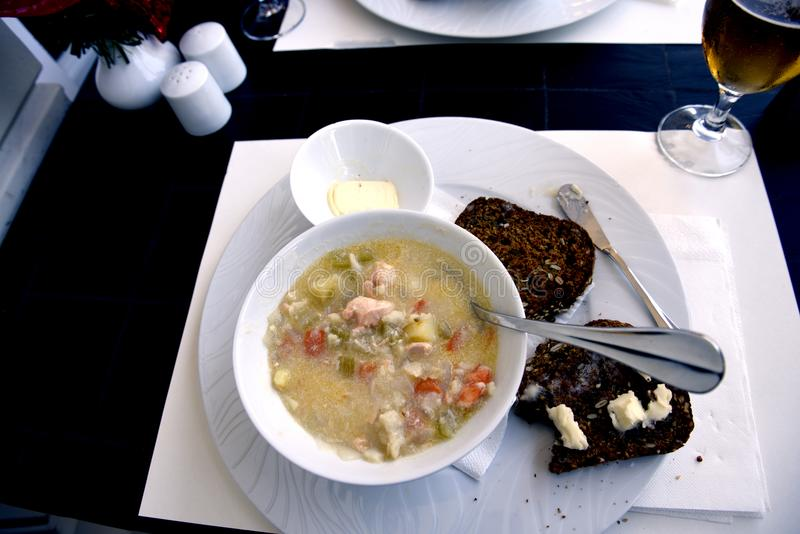 Fish Chowder in Funchal on the island of Madeira Portugal. The seafood on Madeira is of the highest quality and freshness because of its position in the Atlantic stock images