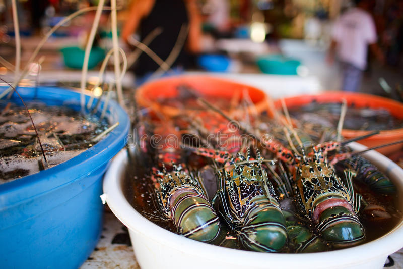 Seafood market. Exotic traditional seafood market on Boracay island in Philippines stock image