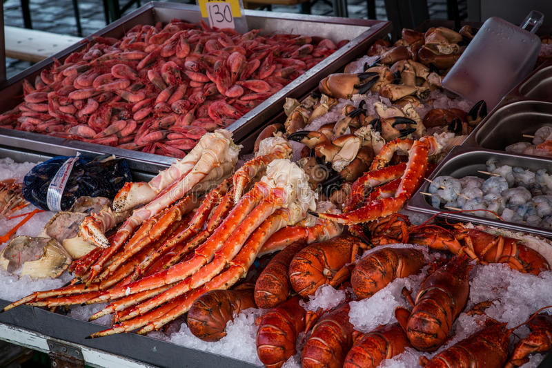 Seafood market. Seafood for sale in the Bergen Fisherman's market royalty free stock photo