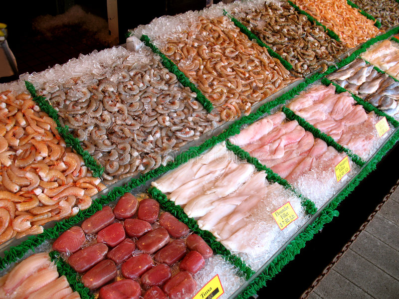 Seafood Market. Photo of seafood market selling many varieties of fish and shrimp royalty free stock photography