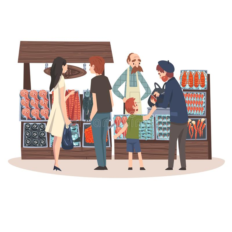 Seafood Market with Freshness Fish Products on Counter, Street Shop with Male Seller and Customers Vector Illustration. On White Background vector illustration