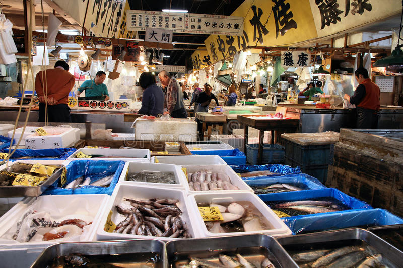Seafood market, Tokyo royalty free stock images