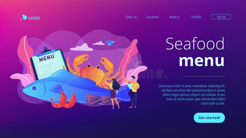Seafood menu concept landing page. Tiny business people reading menu and sea food products, fish and crab. Seafood menu, seafood nutrition diet, marine products royalty free illustration