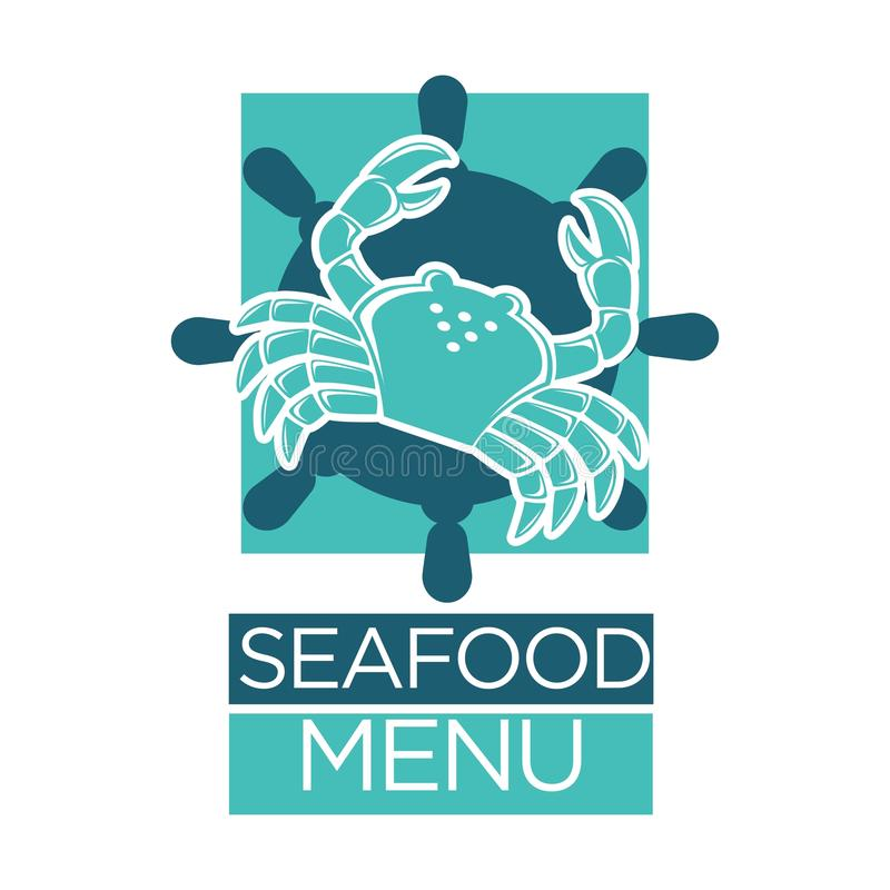 Seafood menu of lobster crab on ship helm vector isolated icon vector illustration
