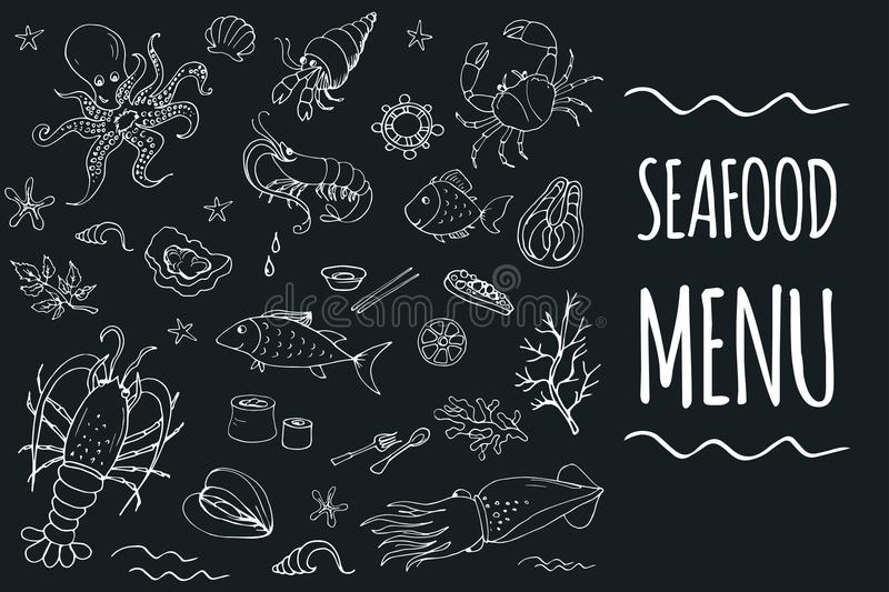 Seafood menu template page. Stock vector illustration royalty free illustration