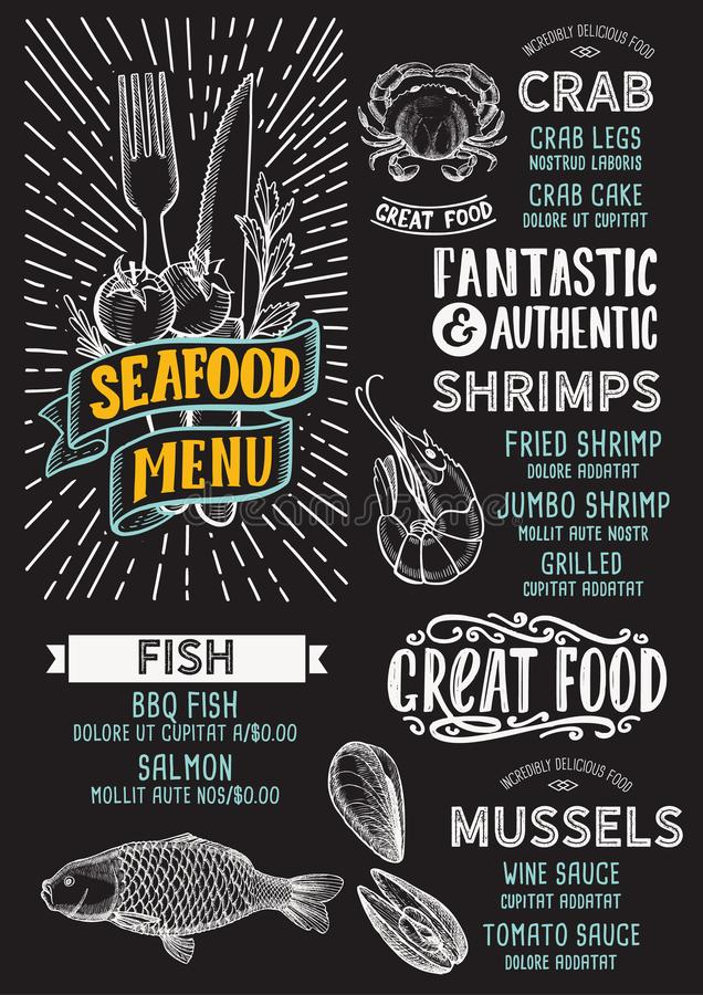 Seafood menu template for restaurant on a blackboard background vector illustration brochure for food and drink cafe. Design. Layout with vintage lettering and vector illustration
