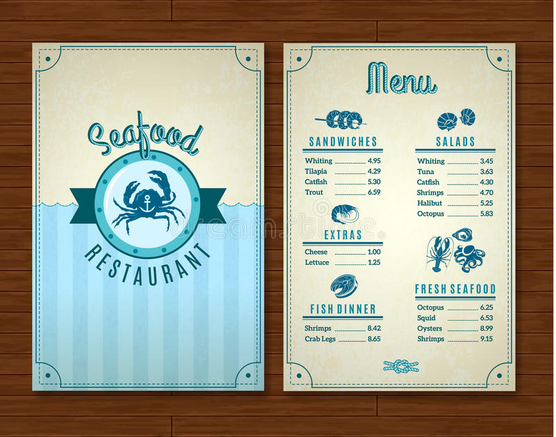 Seafood Menu Template Stock Vector Illustration Of Octopus