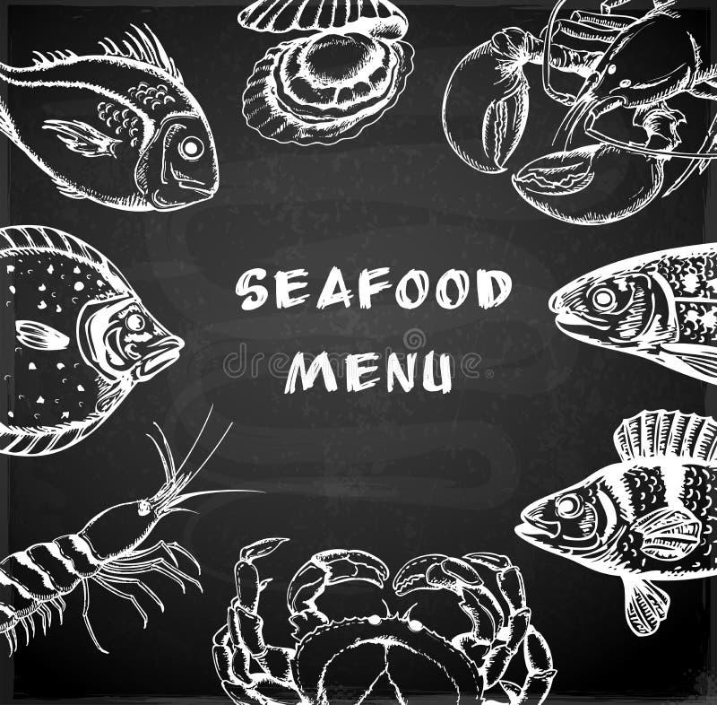 Seafood menu vector illustration