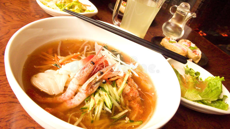 Seafood noodle soup royalty free stock images