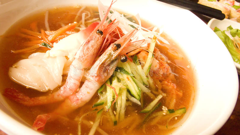 Seafood noodle soup stock photo