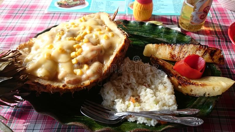 Seafood in oaxaca. Pineapple with seafood stock photography