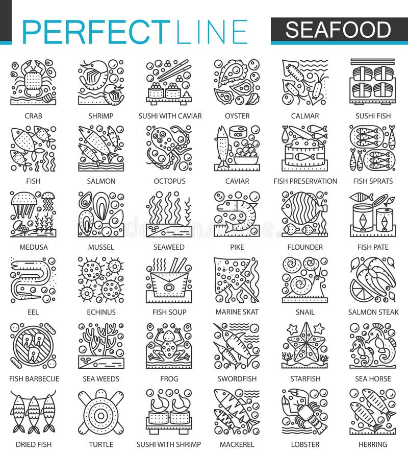 Seafood outline mini concept symbols. East restaurant sea food modern stroke linear style illustrations set. Perfect royalty free illustration