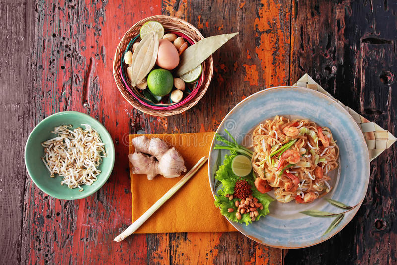 Seafood pad thai. Portrait of seafood pad thai with some ingredients stock photos