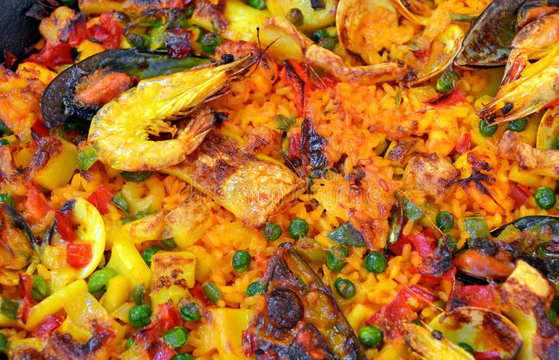 Seafood Paella. Closeup in a pan stock photos