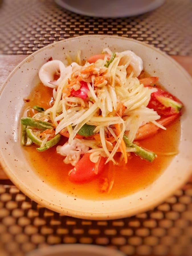 Seafood papaya salad - image royalty free stock photo
