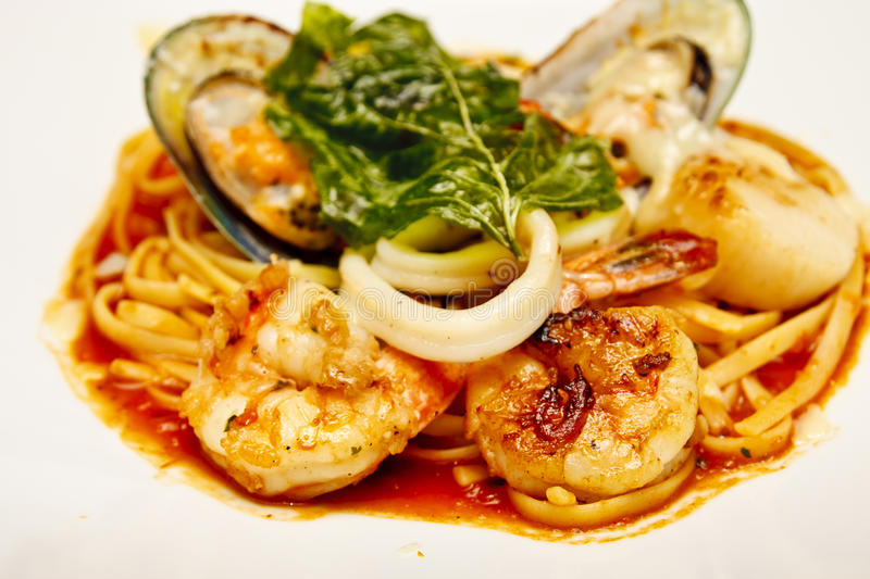 Seafood Pasta Appertizer stock photography