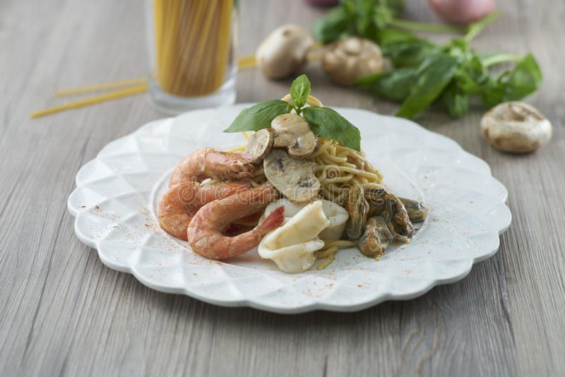 Seafood Pasta royalty free stock images