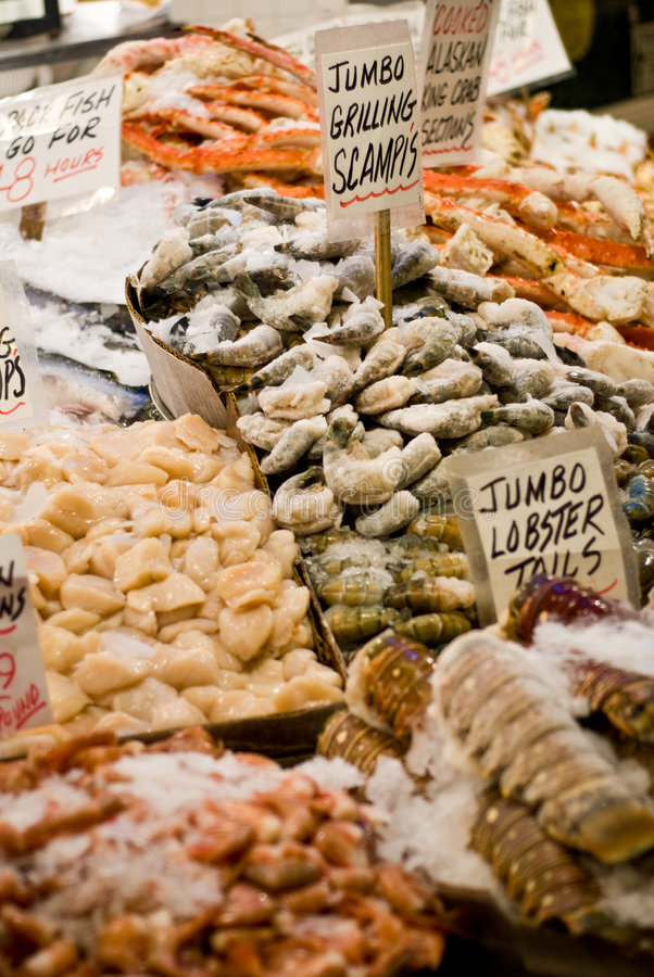 Seafood at Pike Place Market stock photography