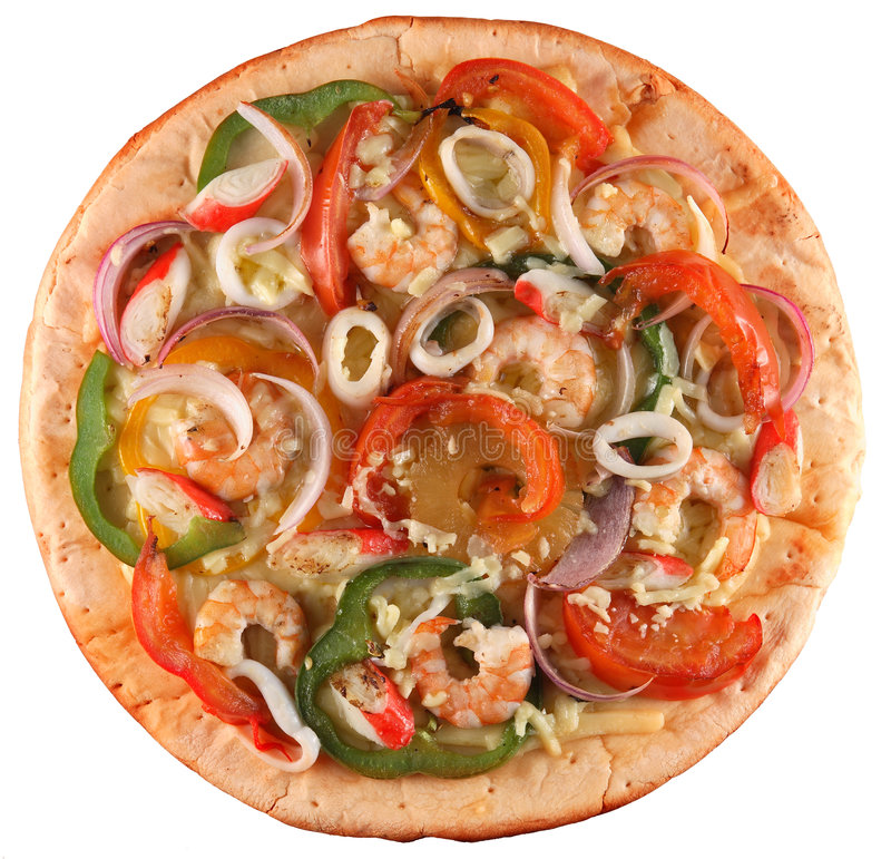 Seafood pizza. Top shot of a seafood pizza stock photos
