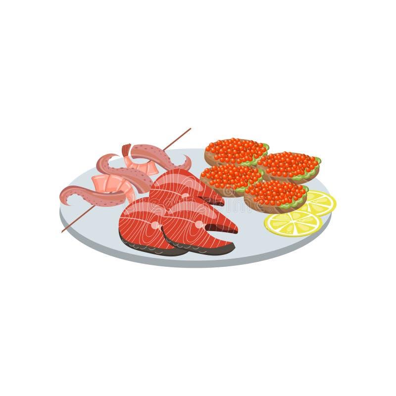 Seafood on plate cartoon vector Illustration vector illustration