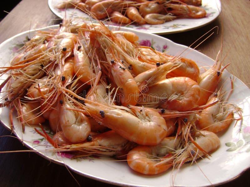 Shrimps platter stock images
