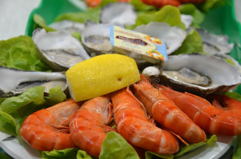 Seafood plate at fish market royalty free stock photography