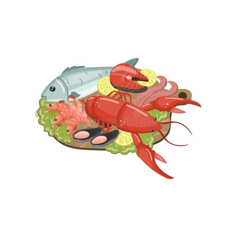 Seafood on plate, shrimp, lobster, shellfish, lobste,r oyster, mussel products cartoon vector Illustration stock illustration