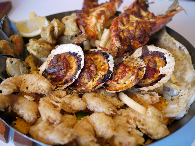 Seafood Platter. Consisting of scallops, prawns, calamari, mussels, lobsters stock image
