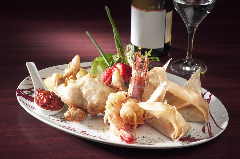 Seafood platter. A plate of fried seafood platter royalty free stock photo