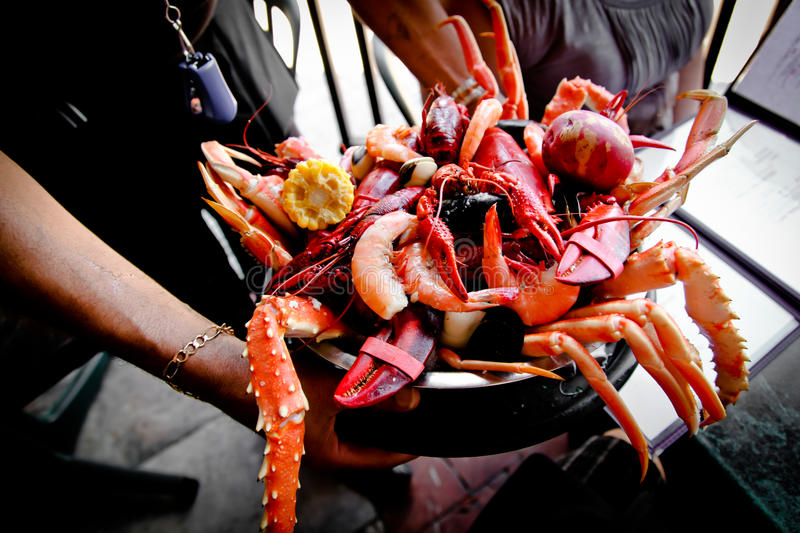 Seafood Platter New Orleans Style stock photo